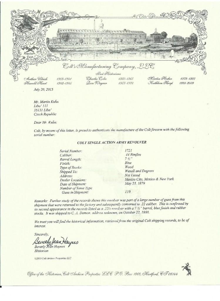 Colt Letter - Kuhn